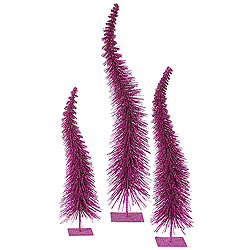 26 Inch Magenta Glitter Curved Tree 3 per Set