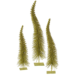 26 Inch Olive Glitter Curved Tree 3 per Set