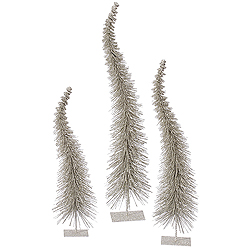 26 Inch Champagne Glitter Curved Tree 3 per Set