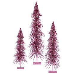 36 Inch Orchid Glitter Layered Tree 3 per Set