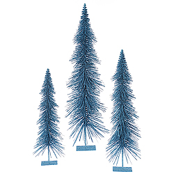 36 Inch Turquoise Glitter Layered Tree 3 per Set