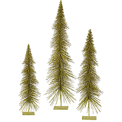 36 Inch Olive Glitter Layered Tree 3 per Set
