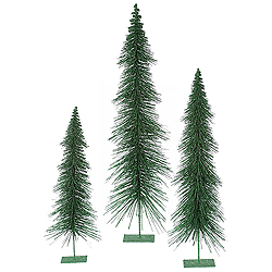 36 Inch Emerald Glitter Layered Tree 3 per Set