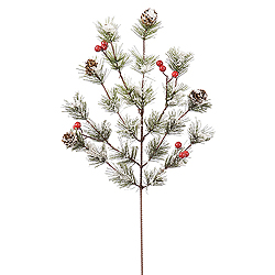 18 Inch Snowy Monterey Pine Spray With Berries 12 per Set