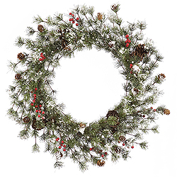 36 Inch Snowy Monterey Pine Wreath With Berries