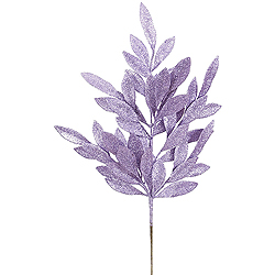 6 Purple Glitter Bay Leaf Decorative Artificial Christmas Floral Spray