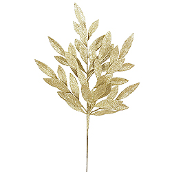 6 Gold Glitter Bay Leaf Decorative Artificial Wedding Floral Spray