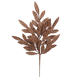 6 Chocolate Brown Glitter Bay Leaf Decorative Artificial Christmas Floral Spray
