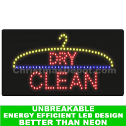 Flashing LED Lighted Dry Clean Sign