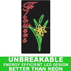 LED Flashing Vertical Lighted Flowers Sign