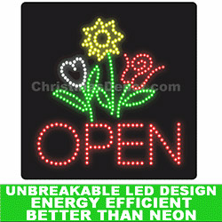 Flower LED Flashing Lighted Open Sign