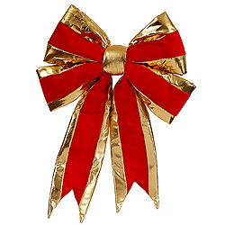 19 Inch Red Structured Bow With Gold Trim