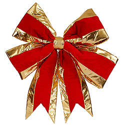 30 Inch Red Structured Bow Gold Trim