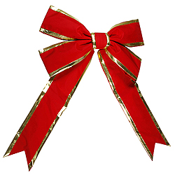86 Inch Red Bow With Gold Trim