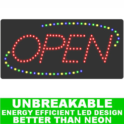 Flashing LED Lighted Open Sign