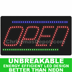 Flashing Lighted LED Open Sign
