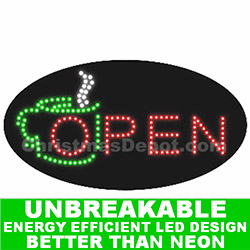 Coffee LED Flashing Lighted Open Sign