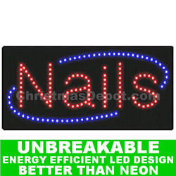 LED Flashing Lighted Nails Sign