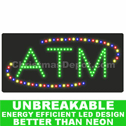 Flashing LED Lighted ATM Sign