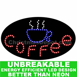 Flashing LED Lighted Coffee Sign