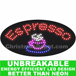 Flashing LED Lighted Espresso Sign