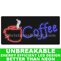 LED Lighted Flashing Coffee Sign
