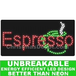 LED Flashing Lighted Espresso Sign