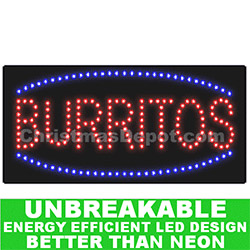 Flashing LED Lighted Burritos Sign