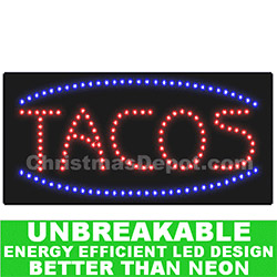Flashing LED Lighted Tacos Sign