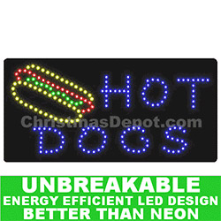 Flashing LED Lighted Hot Dogs Sign