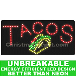LED Flashing Lighted Tacos Sign