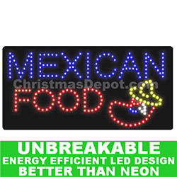 LED Flashing Lighted Mexican Food Sign