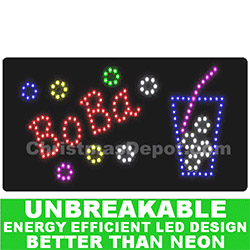 Flashing LED Lighted Boba Sign