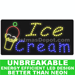 Flashing LED Lighted Ice Cream Sign