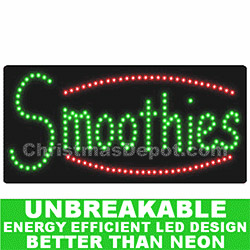 LED Lighted Flashing Smoothies Sign