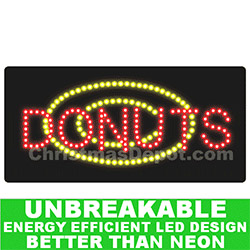 Flashing LED Lighted Donuts Sign