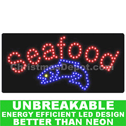 Flashing LED Lighted Seafood Sign
