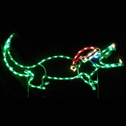 Small Alligator With Santa Hat Lighted Outdoor Lawn Decoration
