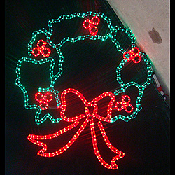 44 Inch LED Rope Light Christmas Wreath Lighted Outdoor Decoration