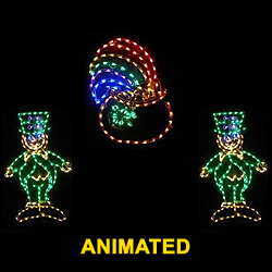 Saint Patricks Day 2 Dancing Leprechauns Around A Pot Of Gold LED Lighted Decoration