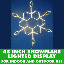 48 Inch Lighted Snowflake Warm White 10MM Rope Lights