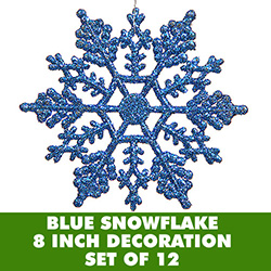 8 Inch Blue Glitter Snowflake Set Of 12
