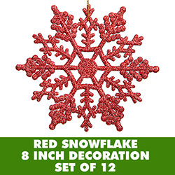 8 Inch Red Glitter Snowflake Set Of 12