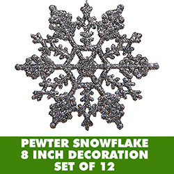 8 Inch Pewter Glitter Snowflake 12 per Set
