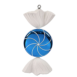 18.5 Inch Blue And White Swirl Candy Christmas Ornament