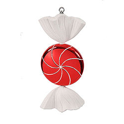 18.5 Inch Red And White Swirl Candy Christmas Ornament