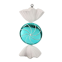 18.5 Inch Turquoise And White Swirl Candy Christmas Ornament