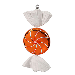 18.5 Inch Orange And White Swirl Candy Christmas Ornament