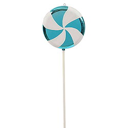 17 Inch Turquoise And White Swirl Lollipop Christmas Candy Ornament