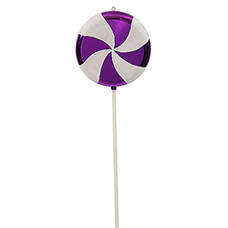24 Inch Purple And White Swirl Lollipop Christmas Candy Ornament